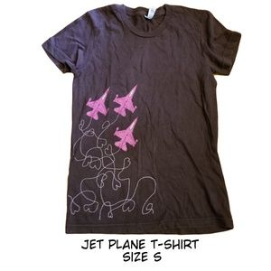 Emo Heart Doodle Jet Plane Fitted T-shirt Size S